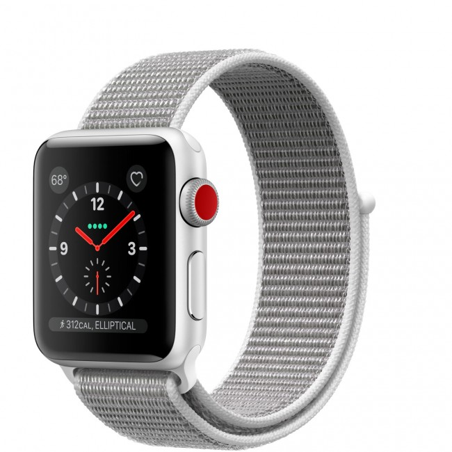 Smart Часовник Apple Watch Series 3 GPS + Cellular 38mm Silver Aluminum Case with Seashell Sport Loop MQJR2