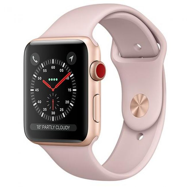 Smart Часовник Apple Watch Series 3 GPS+Cellular 38mm Gold Aluminum Case (with PINK Sport Band)- MQKH2