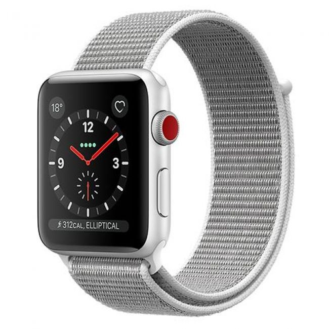 Smart Часовник Apple WATCH SERIES 3, GPS+CELLULAR 42MM SILVER ALUMINUM CASE WITH SPORT LOOP - MQKQ2