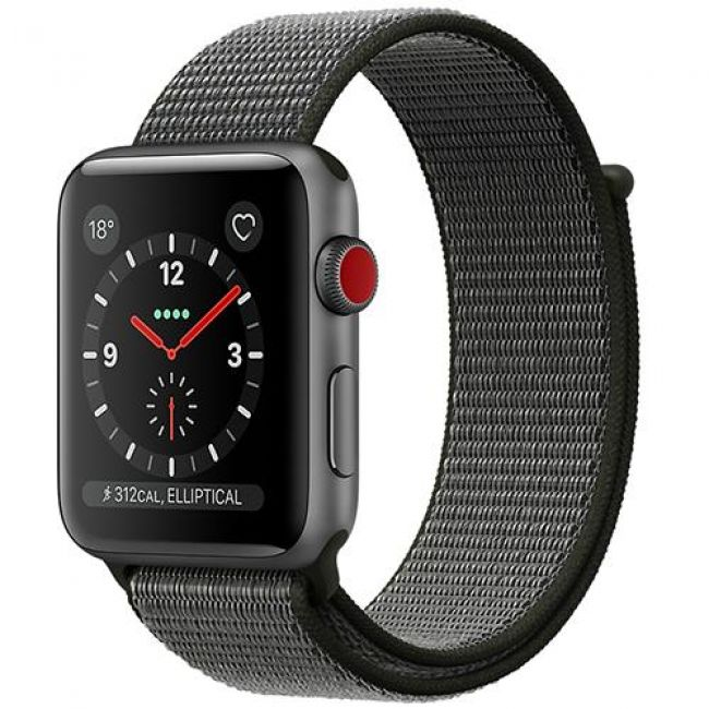 Smart Часовник Apple WATCH SERIES 3, GPS+CELLULAR 42MM SPACE GREY ALUMINUM CASE WITH SPORT LOOP - MQKR2