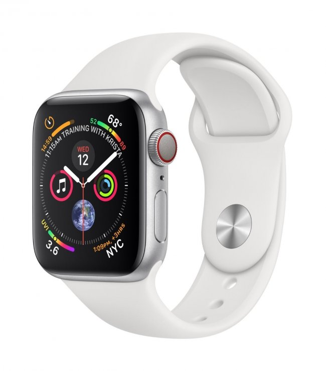 Smart Watch Apple Watch Series 4 40mm GPS + Cellular Silver Aluminum Case with White Sport Band  - MTVA2