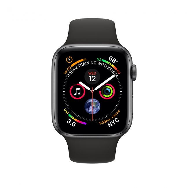 Smart Watch Apple Watch Series 4 40mm GPS + Cellular Space Gray Aluminum Case with Black Sport Band  -  MTVD2