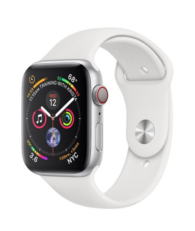 Smart Watch Apple Watch Series 4 44mm GPS + Cellular Silver Aluminum Case with White Sport Band - MTUU2