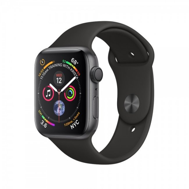 Smart Watch Apple Watch Series 4 44mm GPS + Cellular Space Gray Aluminum Case with Black Sport Band - MTUW2