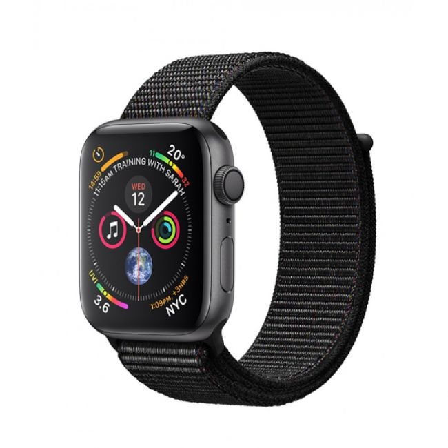 Smart Watch Apple Watch Series 4 44mm Space Grey Aluminum Case with Black Sport Loop GPS MU6E2