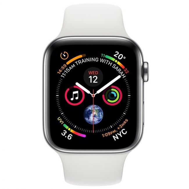 Smart Watch Apple Watch Series 4 GPS + LTE  40mm Stainless Steel Case with White Sport Band- MTVJ2