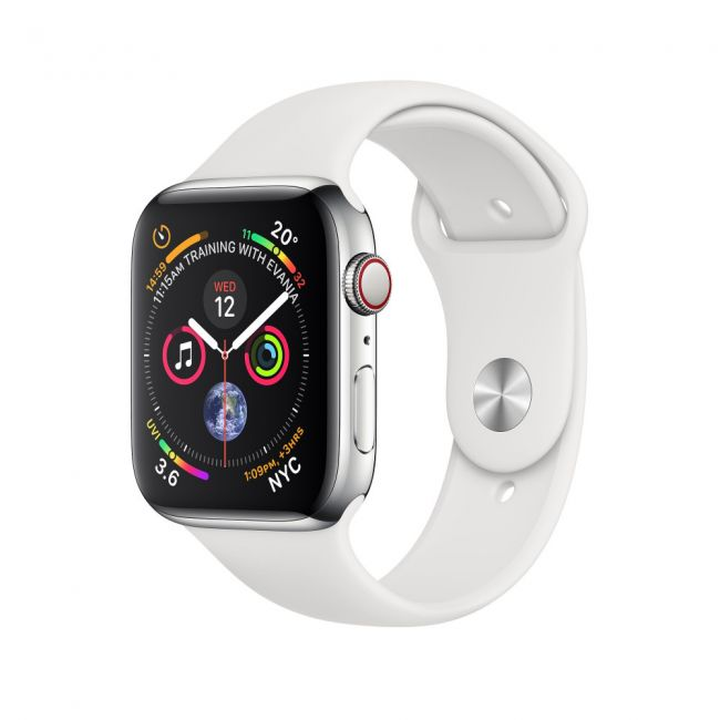 Цена на Apple Watch Series 4 GPS + LTE  40mm Stainless Steel Case with White Sport Band- MTVJ2