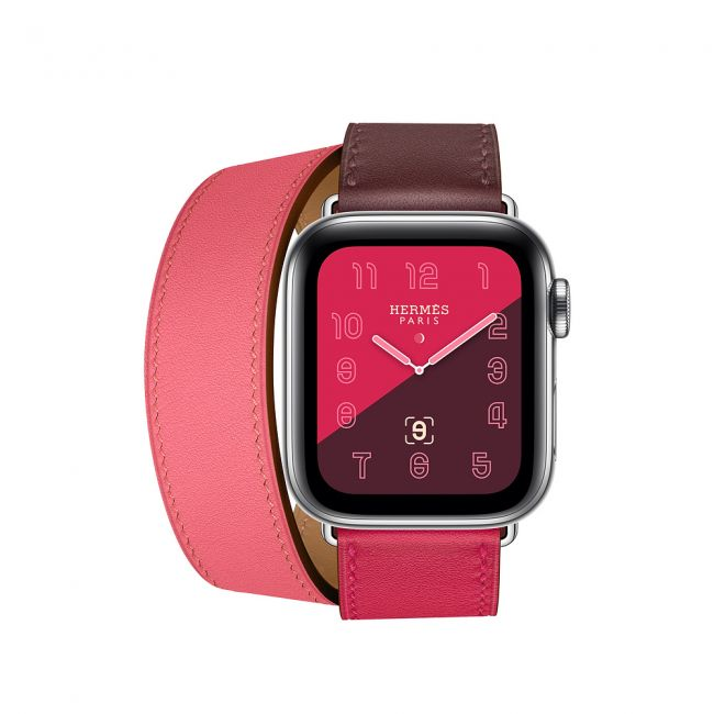 Smart Watch Apple Watch Series 4 Hermès Stainless Steel Case with Bordeaux/Rose Azalée Swift Leather 40mm GPS + Cellul