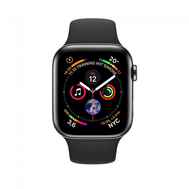 Smart Watch Apple Watch Series 4 LTE Black Sport Band 44mm Black Stainless Steel- MTX22