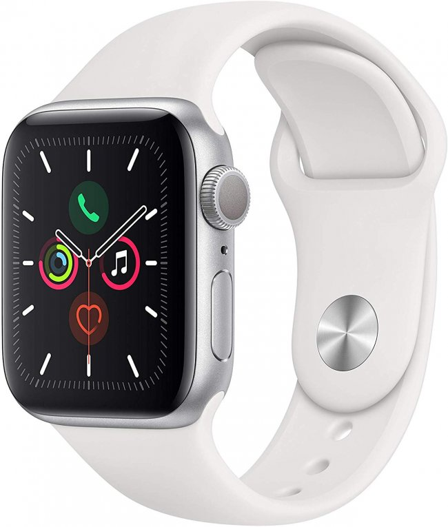 Smart Watch Apple Watch Series 5  -  40mm   Silver Aluminium with White Sport Band	MWV62