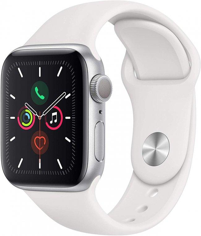 Smart Watch Apple Watch Series 5  -  40mm   Silver Aluminium with White Sport BandMWV62