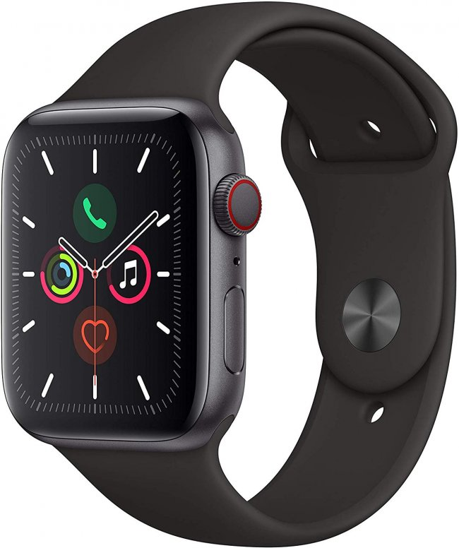 Smart Watch Apple Watch Series 5 - 44mm LTE  Space Grey Aluminium  with	Black Sport Band	MWWE2