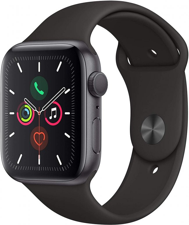 Smart Watch Apple Watch Series 5 -  44mm  Space Grey Aluminium  with Black Sport Band  MWVF2