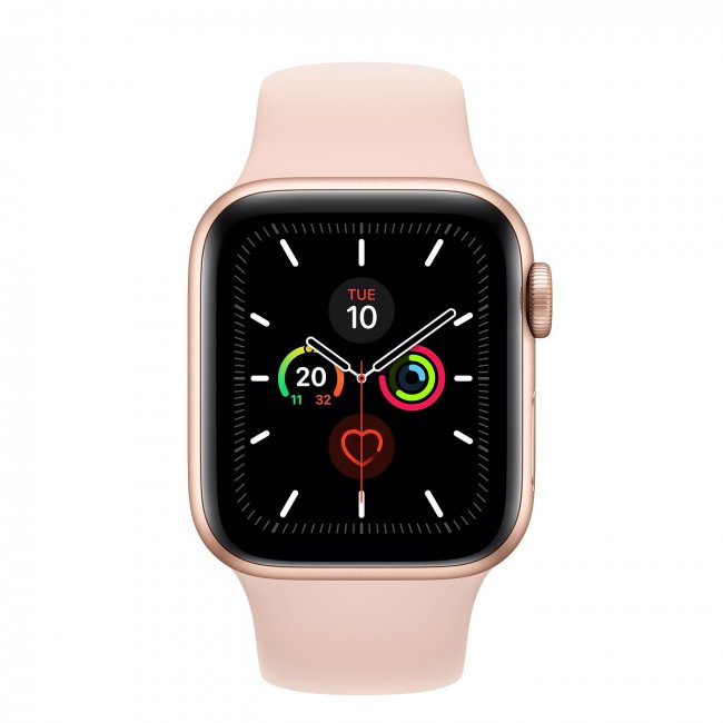Smart Watch Apple Watch Series 5 GPS, 44mm Gold Aluminium Case with Pink Sand Sport Band MWVE2