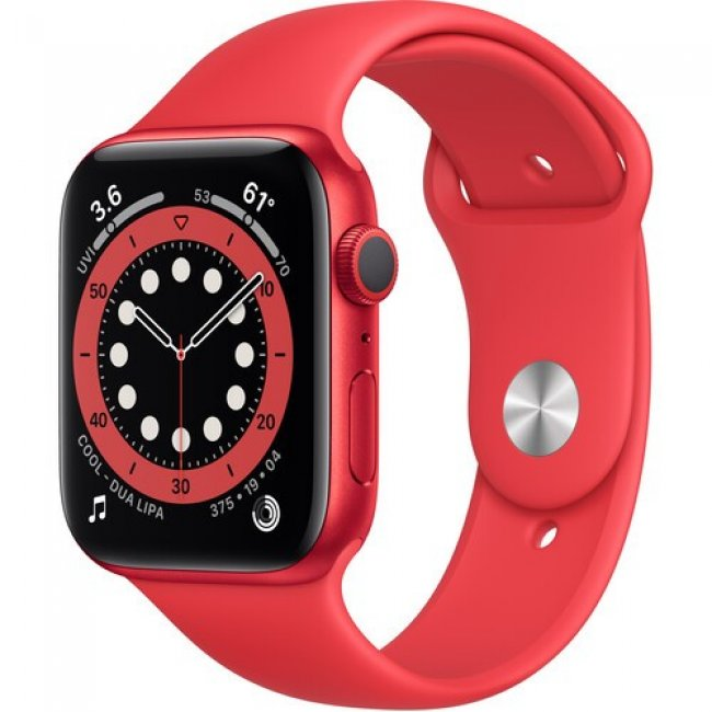 Smart Watch Apple Watch Series 6 GPS, 44mm  Aluminium Case with Red Sport Band  M00M3