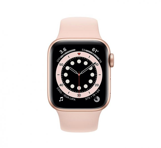 Smart Watch Apple Watch Series 6 GPS, 44mm Gold Aluminium Case with Pink Sand Sport Band M00E3