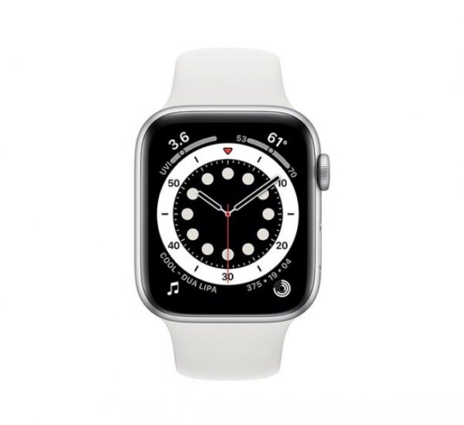 Smart Watch Apple Watch Series 6 GPS, 44mm Silver Aluminium Case with White Sport Band M00D3