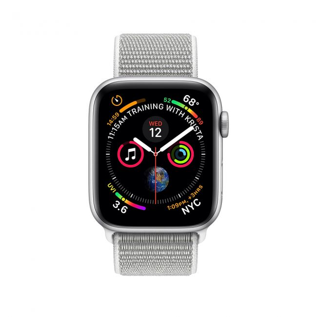 Smart Watch Apple Watch Series4, 40mm, Silver Aluminum Case with Seashell Sport Loop, GPS+Cellular - MTVC2