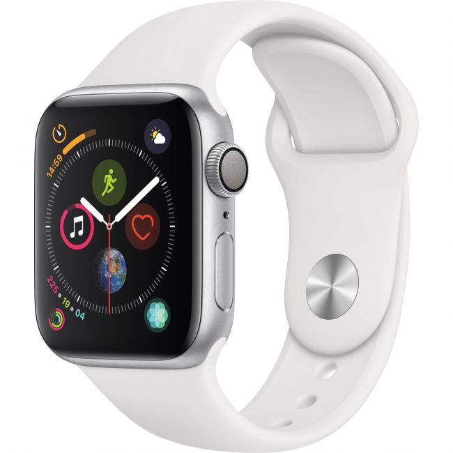 Smart Watch Apple Watch Series4 40mm, Silver Aluminum, White Sport Band, GPS - MU642