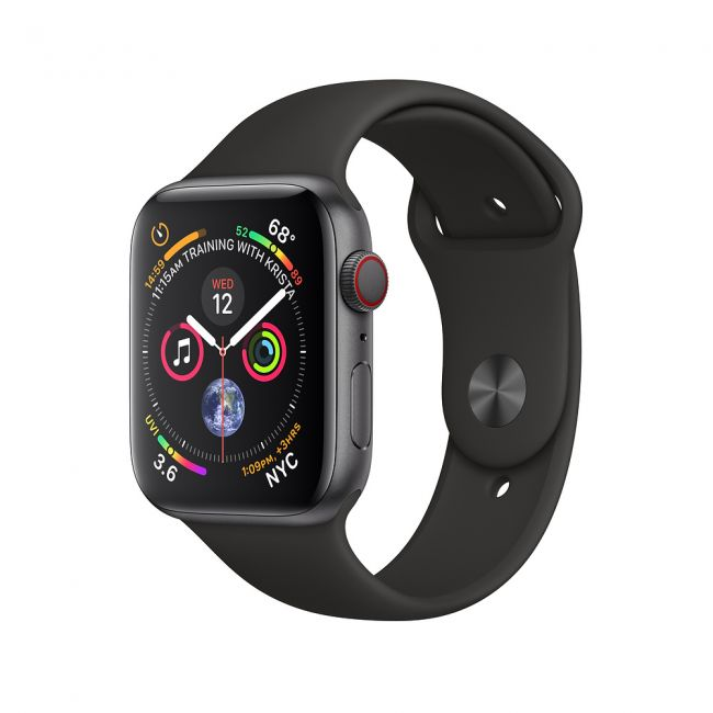 Smart Watch Apple Watch Series4 40mm, Space Gray, Aluminum Case with Black Sport Band, GPS - MU662