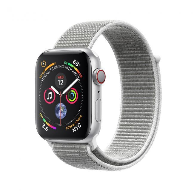 Smart Watch Apple Watch Series4 44mm Silver Aluminum Case with Seashell Sport Loop GPS MU6C2