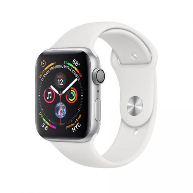 Smart Watch Apple Watch Series4 44mm, Silver Aluminum Case with White Sport Band, GPS - MU6A2