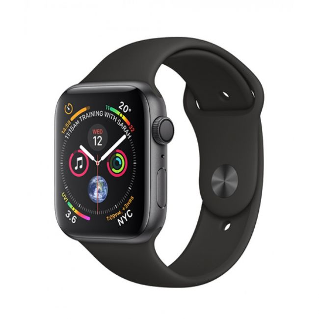 Smart Watch Apple Watch Series4 44mm, Space Gray, Aluminum Case with Black Sport Band, GPS - MU6D2