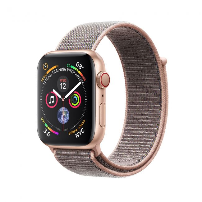 Smart Watch Apple Watch Series4 Gold Aluminum Case with Pink Sand Sport Loop GPS + Cellular