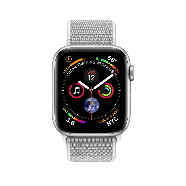 Smart Watch Apple Watch Series4 Silver Aluminum Case with Seashell Sport Loop GPS + Cellular