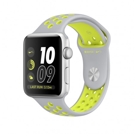Smart Часовник Apple Watch SILVER ALUMINUM FLAT SILVER/VOLT NIKE SPORT 38MM - MNYP2