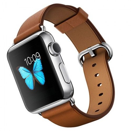 Цена на Apple Watch Stainless Steel Saddle Brown Classic Buckle Silver 38mm - MMF7