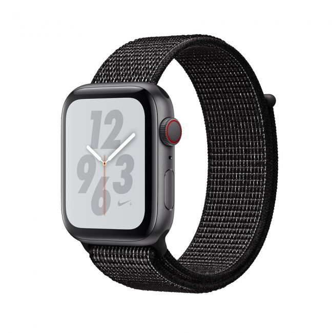 Smart Watch Apple WatchSeries4 44mm, Nike+ Space Gray Aluminum Case with Black Nike Sport Loop MU7J2