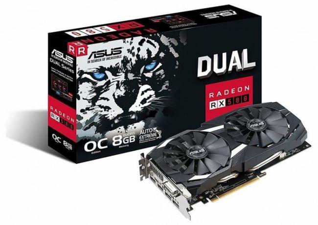 Видеокарта ASUS ASUS Radeon RX 580 OC 8GB GDDR5 256bit PCIe (DUAL-RX580-O8G)
