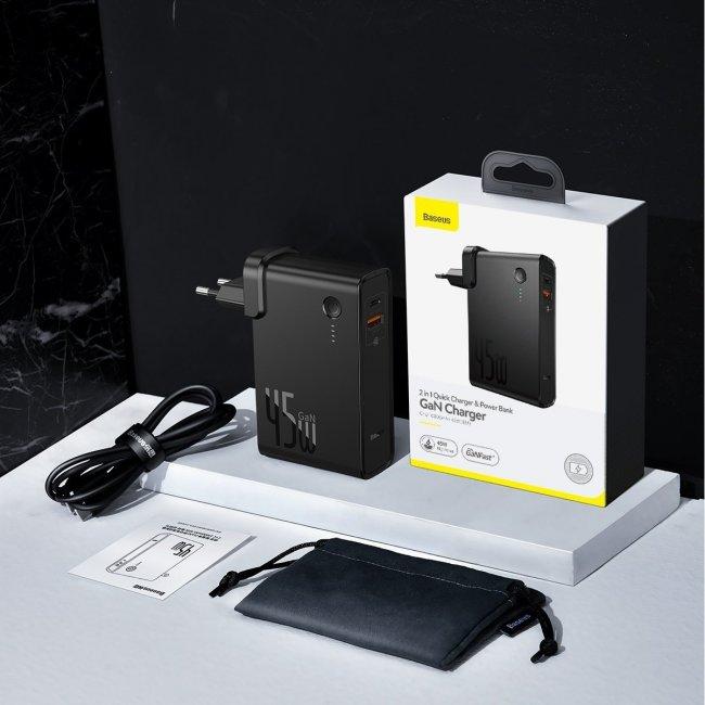 Външни Батерии POWER BANK Baseus GaN- 2в1 Бързо зареждане Банка и зарядно устройство C + U 10000mAh 45W