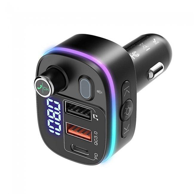 Зарядни устройства BlitzWolf Transmitter Bluetooth 5.0 2xUSB+USB-C, PD18W+QC 3.0, RGB