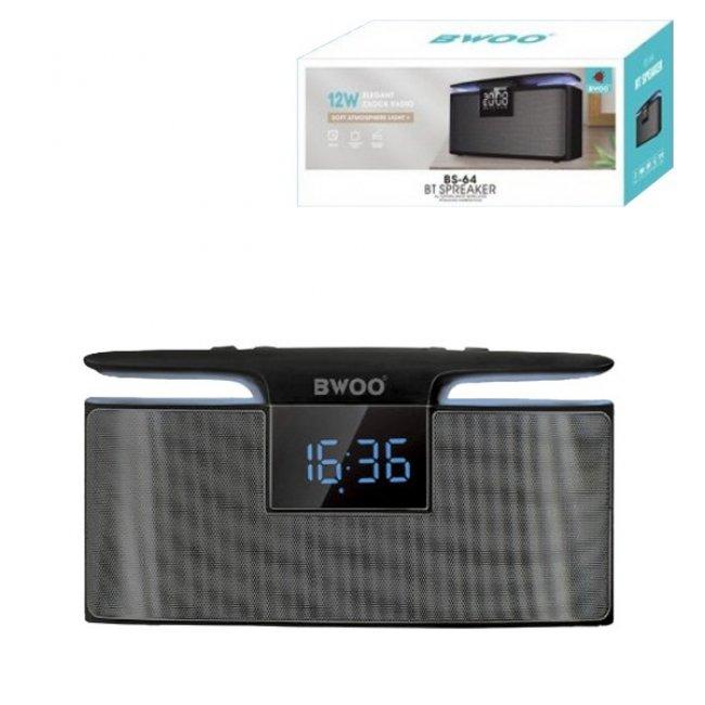 Преносима Тонколона BWOO BS64 12W Bluetooth високоговорител с будилник
