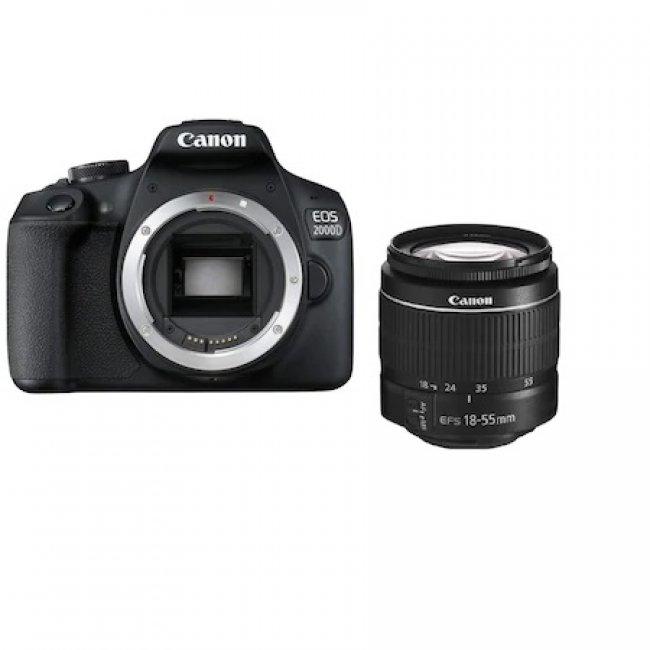Фотоапарат Canon EOS 2000D+обектив Canon EF-S 18-55mm DC III