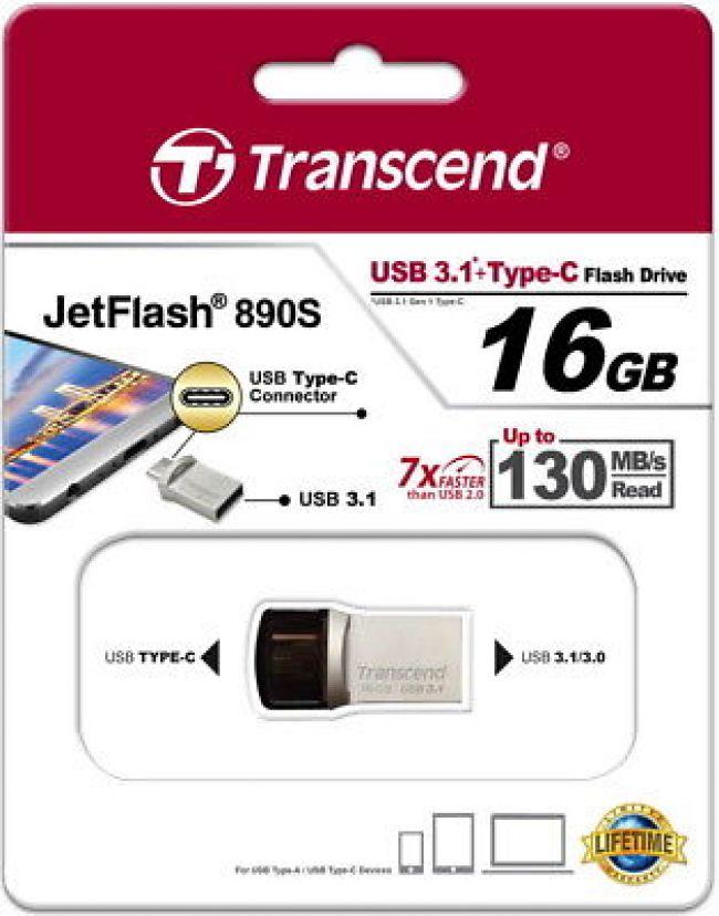 Transcend JetFlash 890S  USB 3.1 TYPE C 16GB