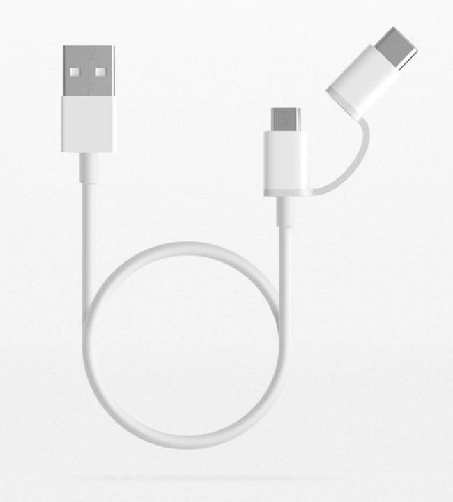 Кабел Xiaomi КАБЕЛ ОРИГИНАЛЕН  2 в 1 - USB и TYPE C 100 СМ