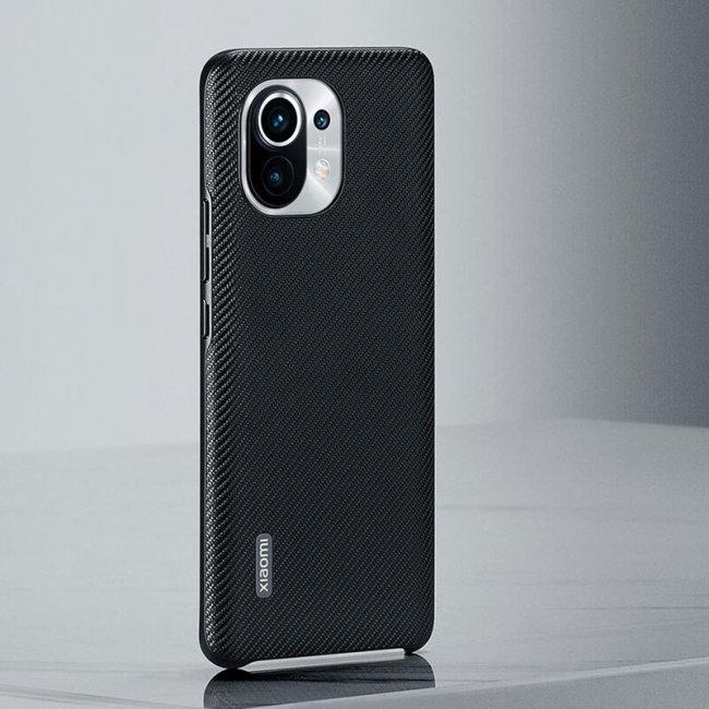 Калъф за Xiaomi Mi 11 Leather Case Carbon BHR4981GL - оригинален