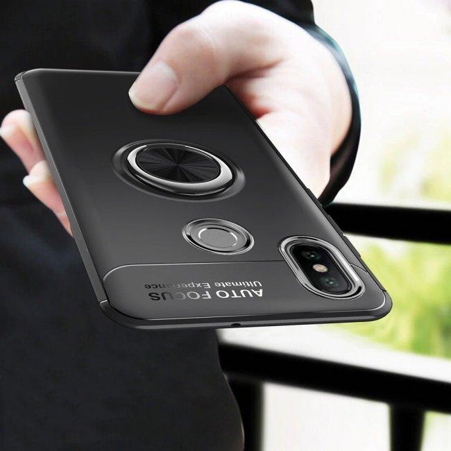Калъф за Xiaomi Mi A2 Lite/Redmi 6 Pro  с пръстен и вградена плоча за магнитна стойка 360°