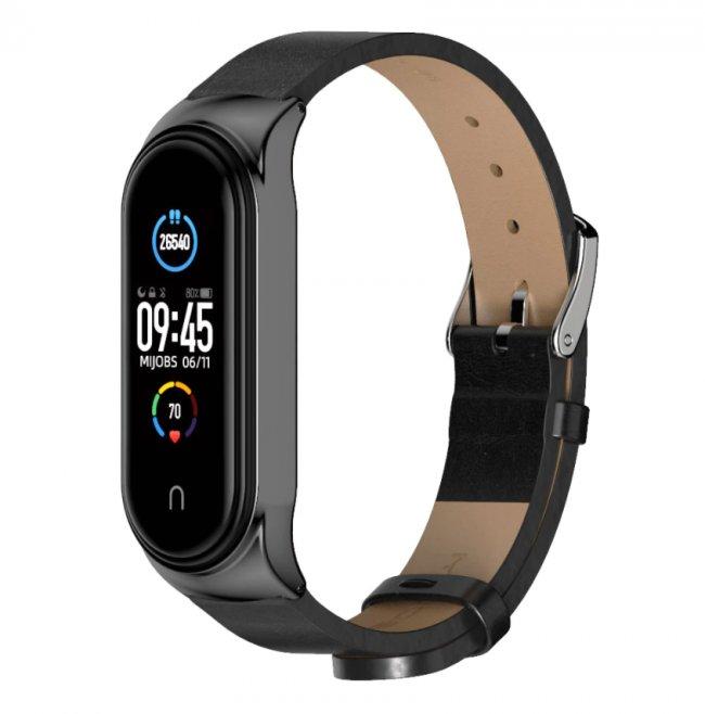Аксесоари за спортни гривни и часовници Xiaomi PU Leather Strap For Mi Band 5/6 кожена каишка
